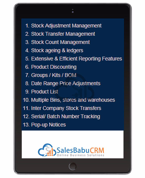 Web Based Online stock maintain software - SalesBabu com