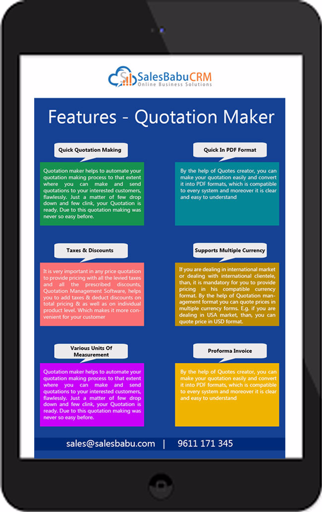 quotation maker features : SalesBabu.com