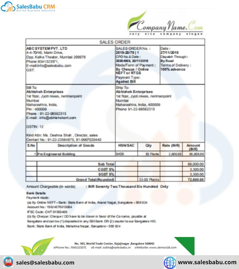 Sample of Sales Order Template